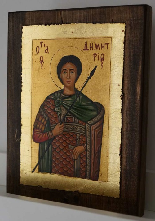 Saint Demetrios of Thessaloniki small Hand Painted Byzantine Icon on Wood