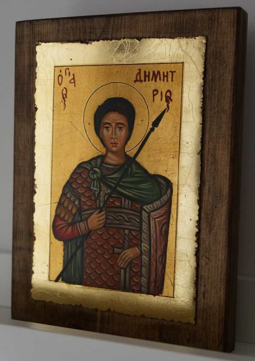 Saint Demetrios of Thessaloniki small Hand Painted Byzantine Icon on Wood
