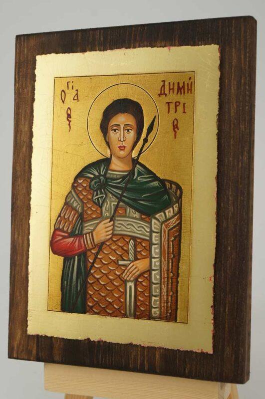 Saint Demetrios of Thessaloniki small Icon Hand Painted Byzantine Orthodox