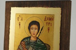 Saint Demetrios of Thessaloniki small Icon Hand Painted Byzantine Orthodox