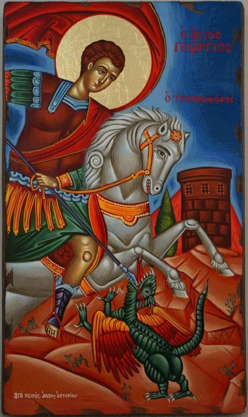 Saint George Victory bearer and Wonderworker Hand Painted Greek Orthodox Icon