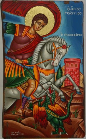 Saint George Victory bearer and Wonderworker Hand Painted Icon Greek Orthodox Byzantine