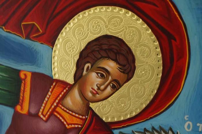 Saint George Victory bearer and Wonderworker Hand Painted Icon Greek Orthodox Byzantine
