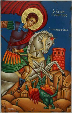 Saint George Victory bearer and Wonderworker Icon Greek Orthodox