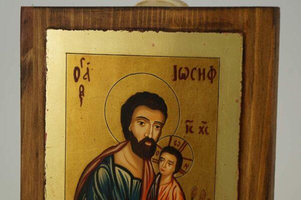 Saint Joseph and Baby Jesus small Hand Painted Icon