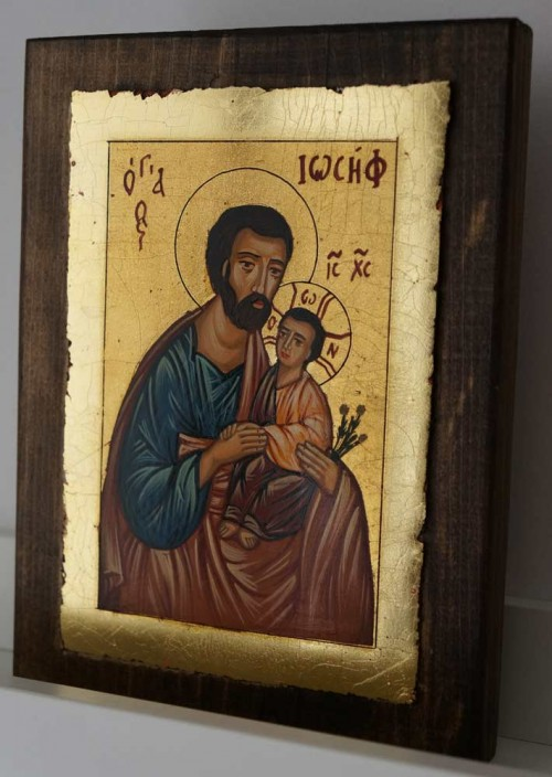 Saint Joseph and Baby Jesus small Hand Painted Orthodox Icon