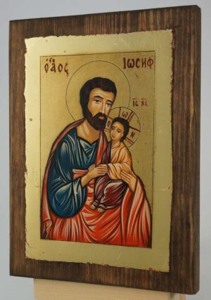 Saint Joseph and Baby Jesus small Icon Hand Painted Byzantine Orthodox
