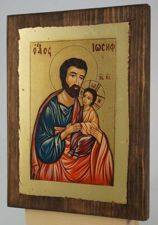 Saint Joseph and Baby Jesus small Icon Hand Painted Byzantine Orthodox