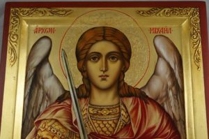 Saint Michael the Archangel Hand Painted Byzantine Icon Painted on Raised Border Panel