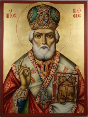 Saint Nicholas Archbishop of Myra Hand Painted Orthodox Icon on Wood