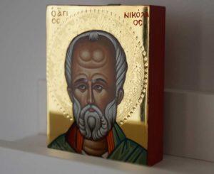 Saint Nicholas of Myra polished gold miniature Hand Painted Greek Orthodox Icon