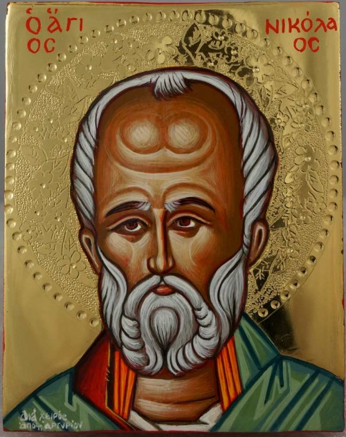 Saint Nicholas of Myra polished gold miniature Hand Painted Greek Orthodox Icon