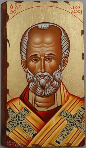 Saint Nicholas the Wonderworker Hand Painted Greek Orthodox Icon