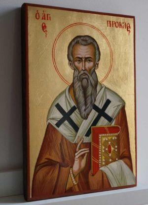 Saint Proclus of Constantinople Hand Painted Greek Orthodox Icon on Wood