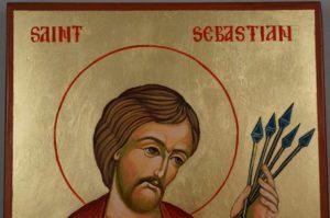 Saint Sebastian Large Hand Painted Orthodox Icon on Wood