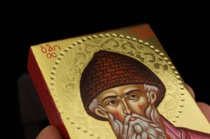 Saint Spyridon Icon polished gold miniature Orthodox