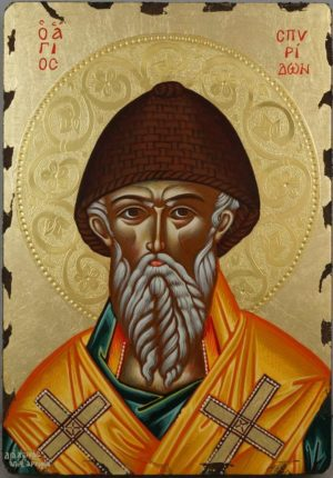 Saint Spyridon polished gold halo Hand Painted Greek Icon