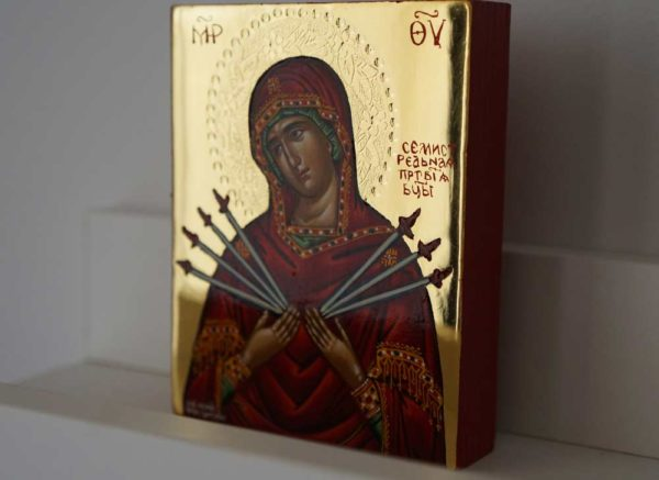 Softener of Evil Hearts polished gold miniature Hand Painted Greek Orthodox Icon