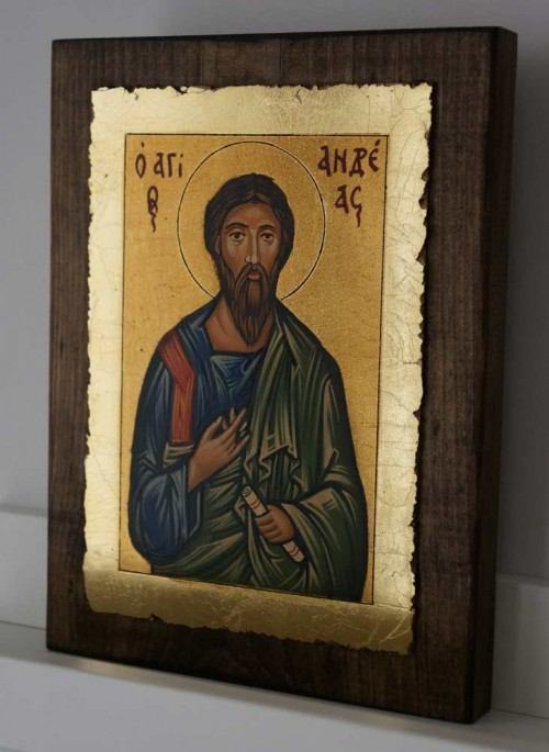 St Andrew the Apostle small Hand Painted Orthodox Icon on Wood