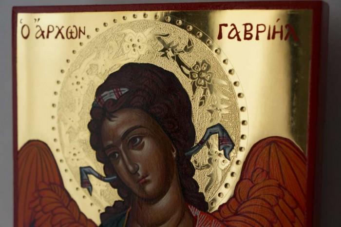 St Archangel Gabriel polished gold Hand Painted Greek Orthodox Icon on Wood