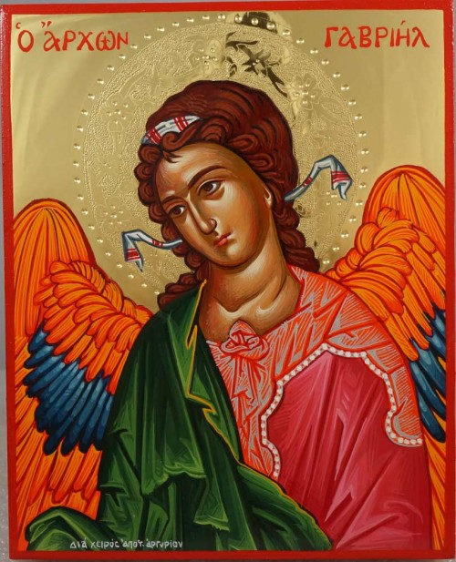 St Archangel Gabriel polished gold Hand Painted Greek Orthodox Icon on Wood
