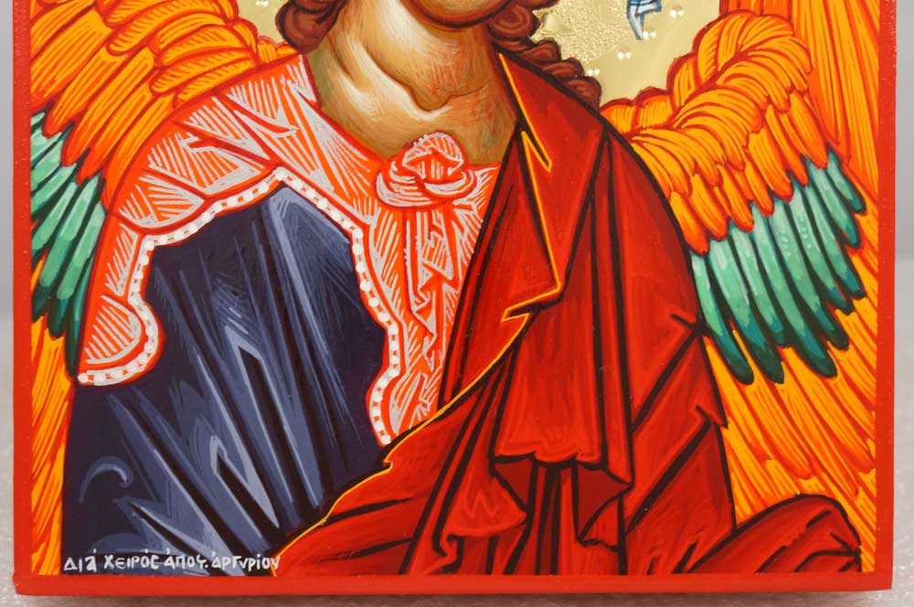 St Archangel Michael polished gold Hand Painted Greek Orthodox Icon on Wood
