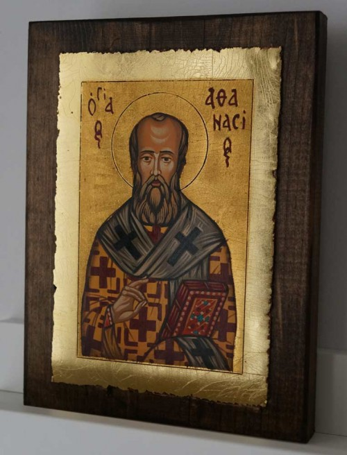 St Athanasius the Great small Hand Painted Orthodox Icon on Wood
