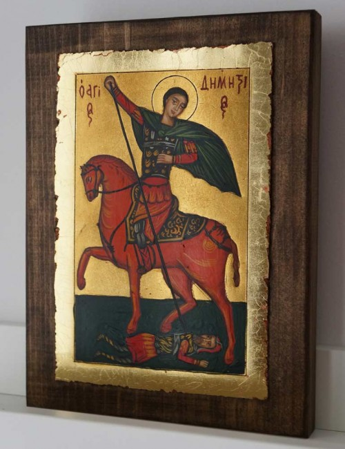 St Demetrius on Horse small Hand Painted Greek Orthodox Icon