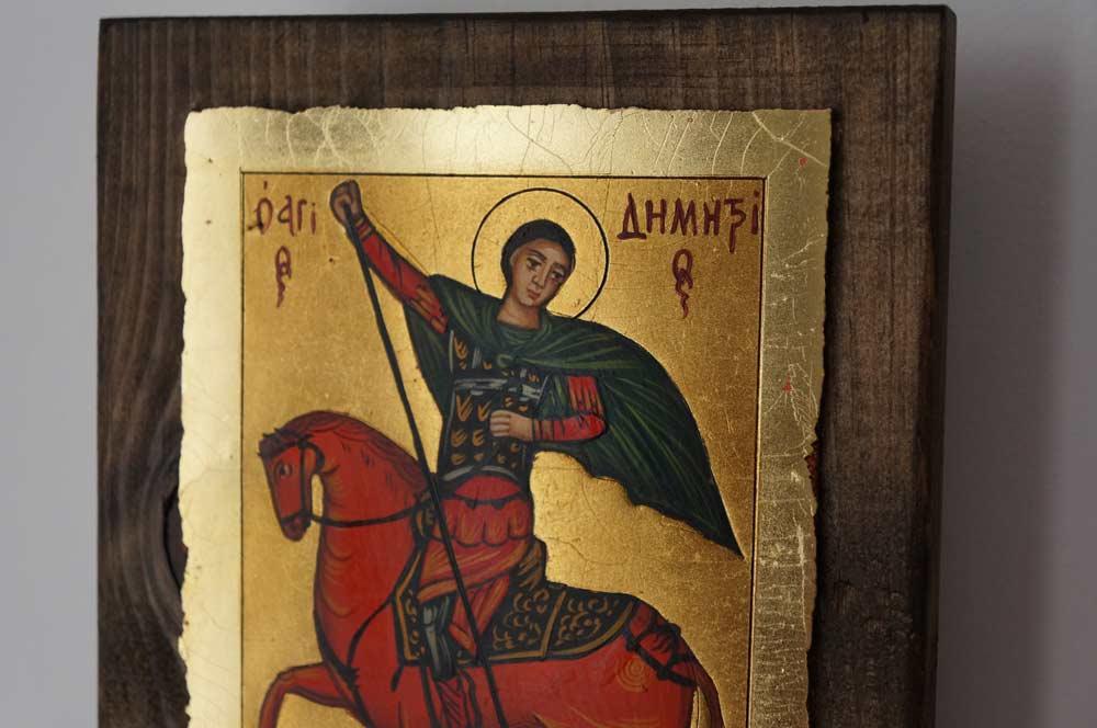 St Demetrius on Horse small Hand Painted Greek Orthodox Icon