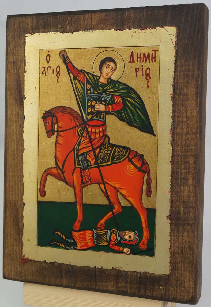 St Demetrius on Horse small Hand Painted Icon Byzantine Orthodox