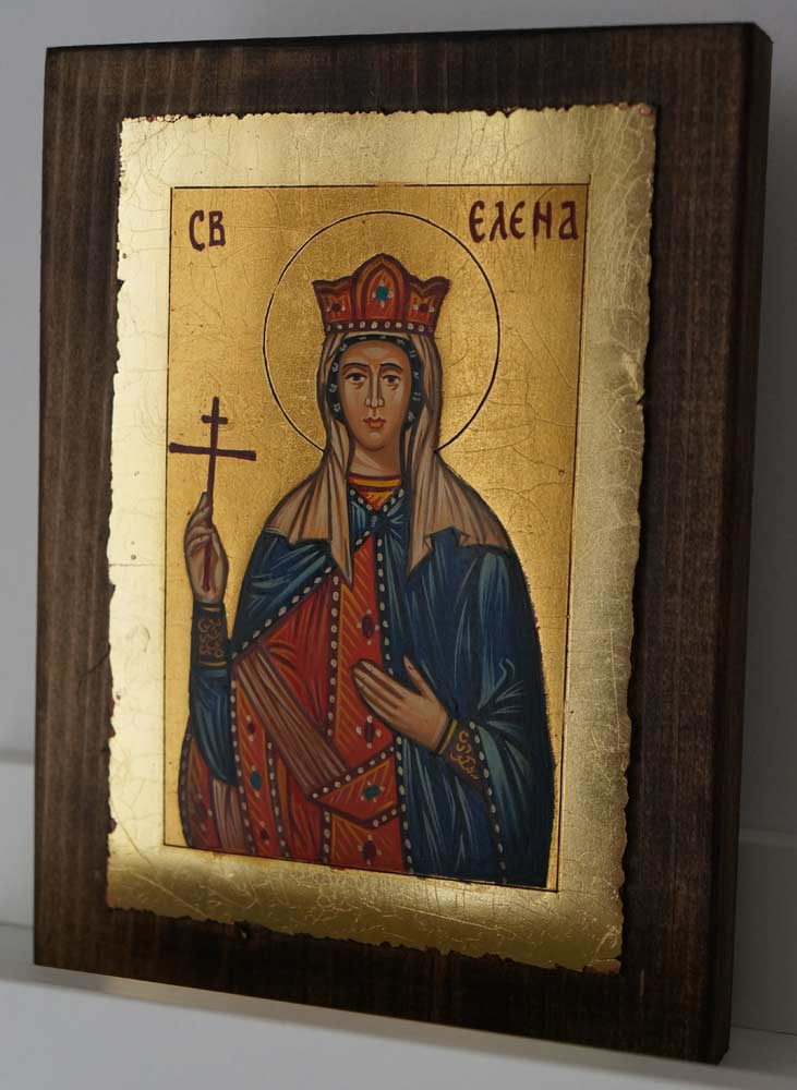 St Helen Equal to Apostles small Hand Painted Byzantine Icon on Wood