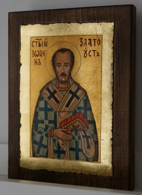 St John Chrysostom small Hand Painted Byzantine Orthodox Icon on Wood