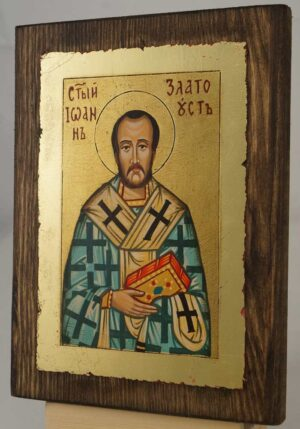 St John Chrysostom small Hand Painted Orthodox Icon on Wood