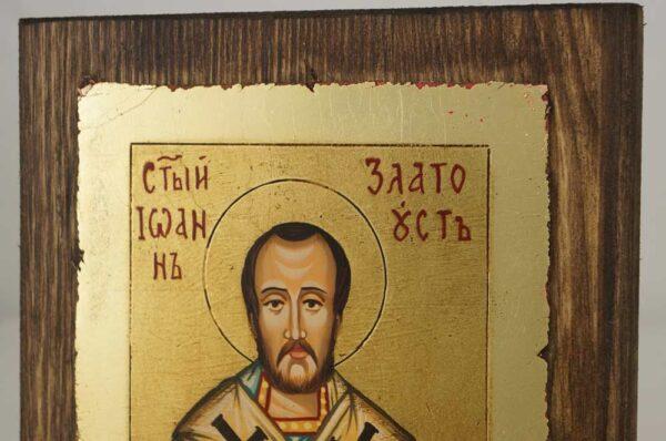 St John Chrysostom small Hand Painted Orthodox Icon on Wood