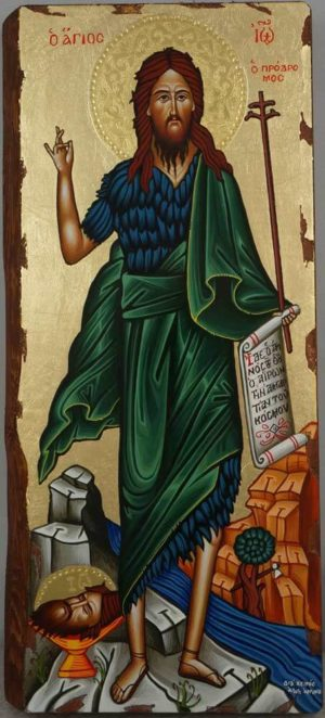St John the Baptist full body Hand Painted Greek Orthodox Icon on Wood