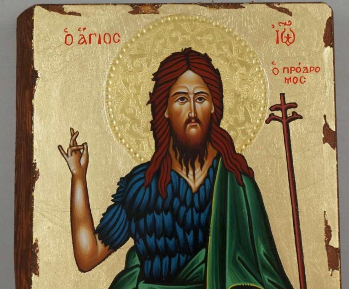 St John the Baptist full body Hand Painted Greek Orthodox Icon on Wood