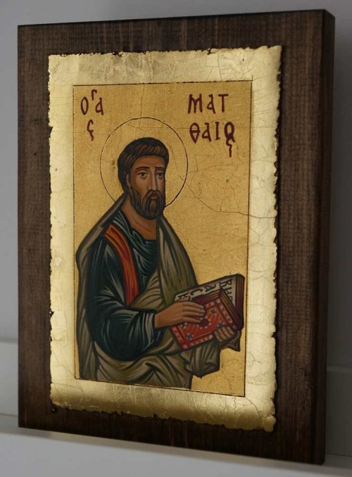 St Matthew the Apostle small Hand Painted Orthodox Icon on Wood