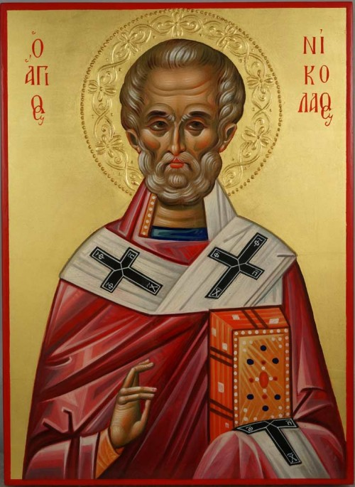 St Nicholas the Wonderworker Hand Painted Byzantine Orthodox Icon