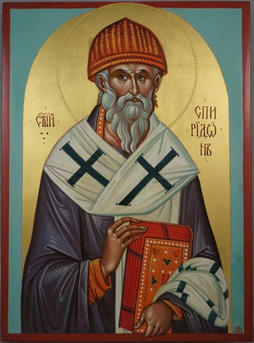St Spyridon of Trimythous the Wonderworker Hand Painted Byzantine Orthodox Icon