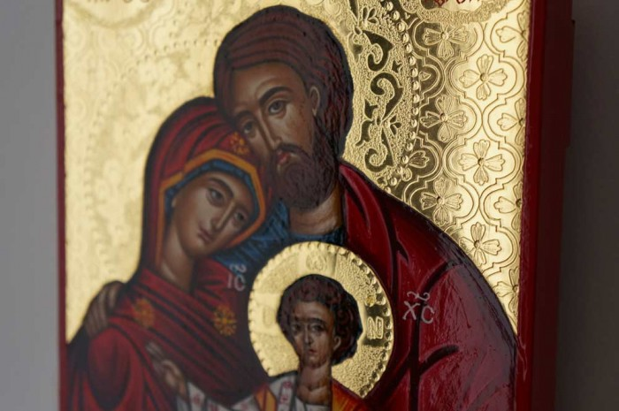 The Holy Family polished gold Hand Painted Greek Orthodox Icon on Wood