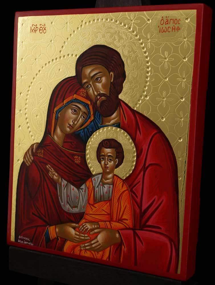 The Holy Family polished gold Hand Painted Icon Byzantine Orthodox