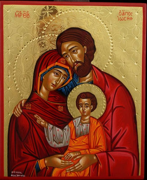 The Holy Family polished gold Hand Painted Icon Byzantine Orthodox