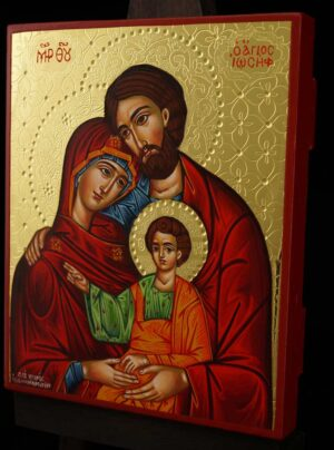 The Holy Family polished gold Icon Hand Painted Byzantine Orthodox
