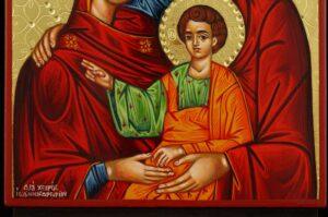 The Holy Family polished gold Icon Hand Painted Byzantine Orthodox