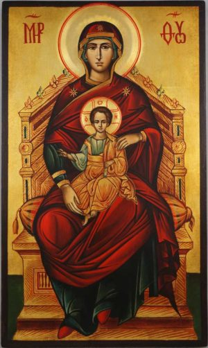 The Mother of God Enthroned Hand Painted Byzantine Orthodox Icon