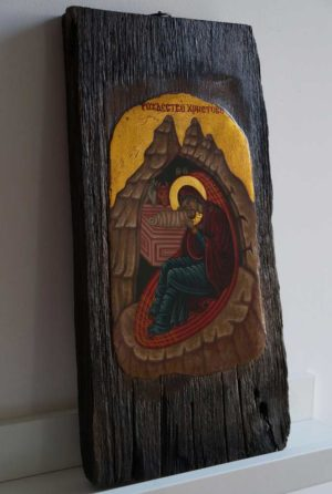 The Nativity of our Lord Jesus Christ Hand Painted Byzantine Orthodox Icon antique style