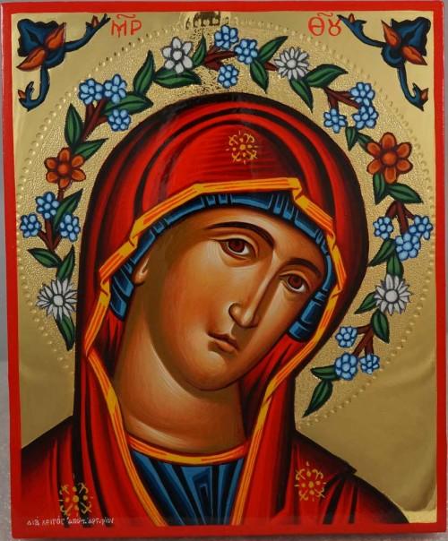 Theotokos Flower Halo polished gold Hand Painted Greek Orthodox Icon on Wood