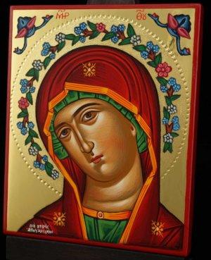 Theotokos Flower Halo polished gold Hand Painted Icon Greek Orthodox Byzantine
