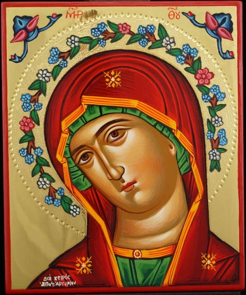 Theotokos Flower Halo polished gold Hand Painted Icon Greek Orthodox Byzantine