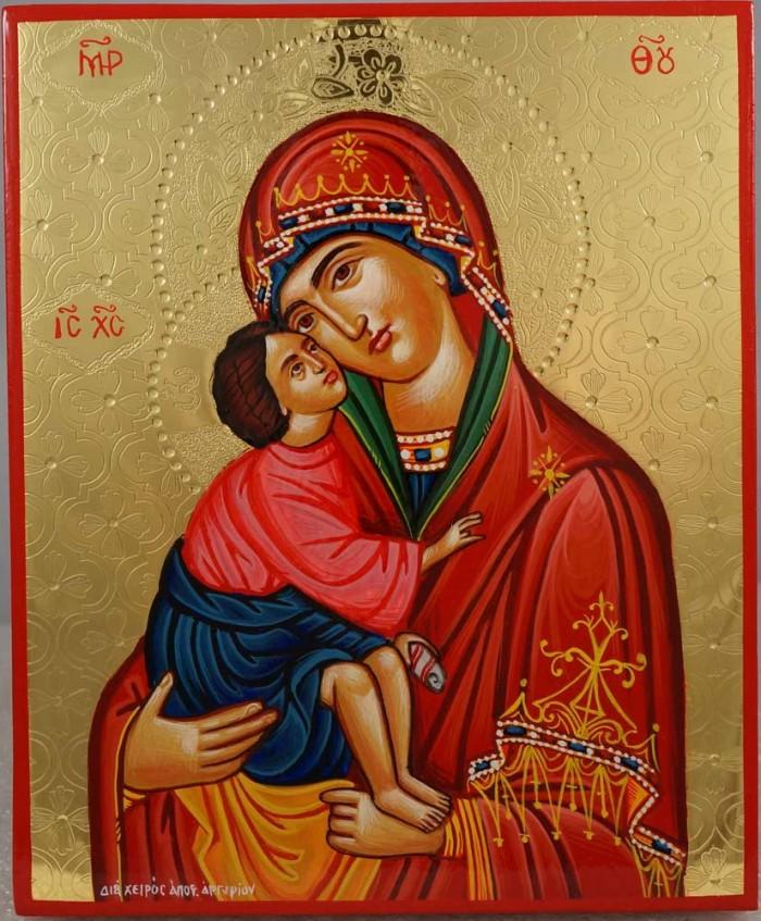 Theotokos Glykophilousa polished gold Hand Painted Greek Orthodox Icon on Wood